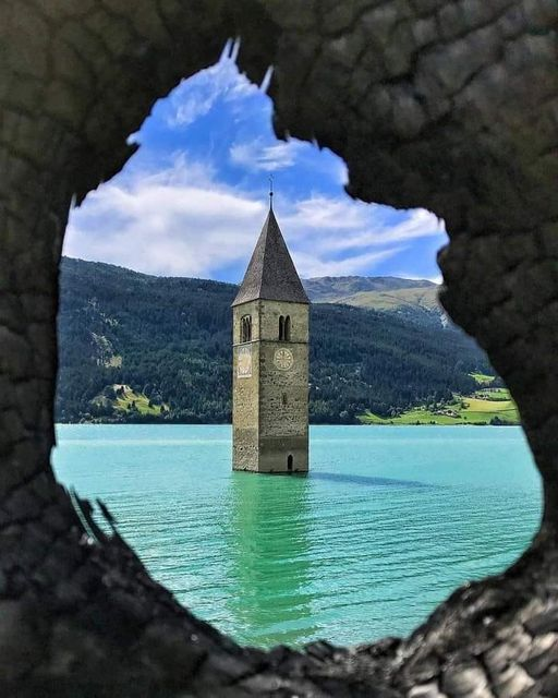 The submerged bell tower in Lake Resia is the symbol of the Venosta Valley.